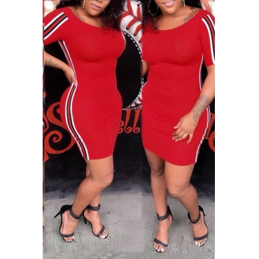 Lovely Casual Short Sleeves Red Cotton Blends Sheath Mini Dress