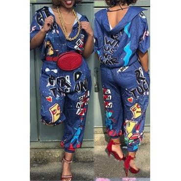 Lovely Euramerican Cartoon Printing Blue Polyester One-piece Jumpsuit