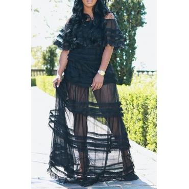 Lovely Trendy See-Through Black Lace Floor Length Dress