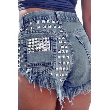 Lovely Trendy Rivet Decorate Blue Denim Shorts