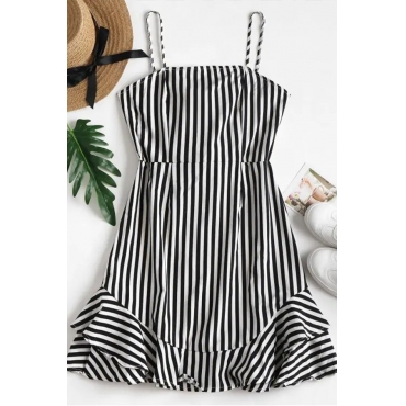 Lovely Trendy Striped Black-white Mini Dress