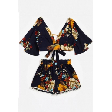 Lovely Trendy V Neck Backless Printed Black Chiffon Two-piece Shorts Set