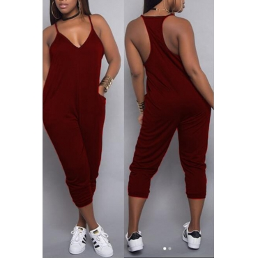 LovelyCasual V Neck Wine Red One-piece Jumpsuits