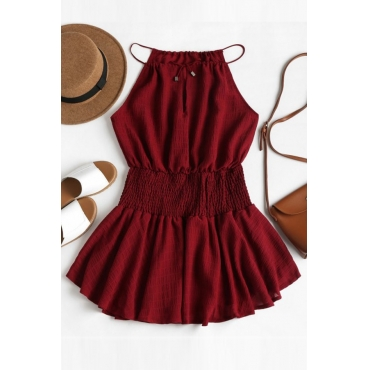 Lovely Euramerican O Neck Sleeveless Red Mini Dress