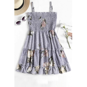 Lovely Euramerican Sleeveless Printed Light Blue Cotton Mini Dress