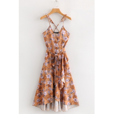 Lovely Euramerican Printed Asymmetrical Mid Calf Dress
