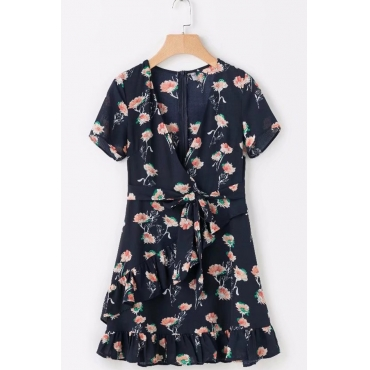 Lovely Euramerican V Neck Printed Navy Blue Rayon Mini Dress