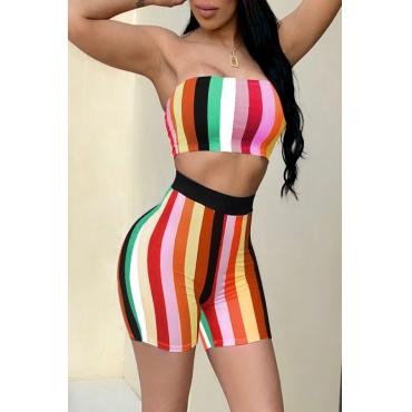 LovelySexy Bateau Neck Colorful Striped Green Two-piece Shorts Set