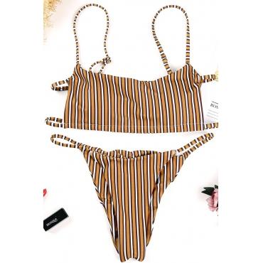 Lovely Yellow Striped Two-piece Swimwear