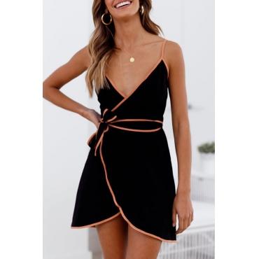 Lovely Fashion V Neck Lace-up Black Cotton Mini Dress