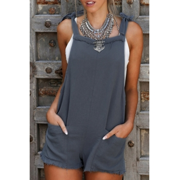 Lovely Street Backless Blue One-piece Romper(Without Tank Top)