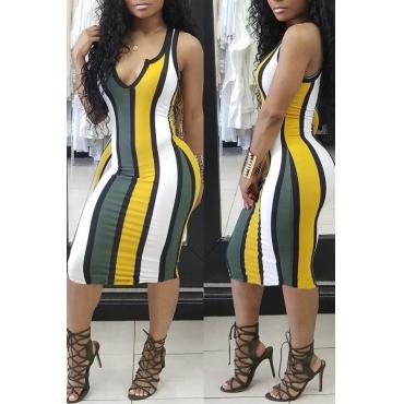 LovelyTrendy V Neck Striped Yellow Sheath Mid Calf Dress
