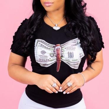 LovelyLeisure Round Neck Printing Black Cotton Blends T-shirt