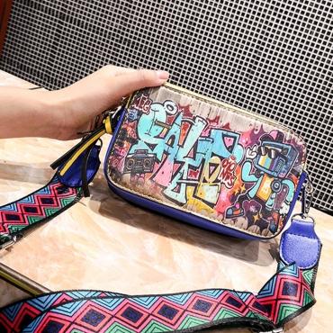 Lovely  Euramerican Graffiti Blue Messenger Bags