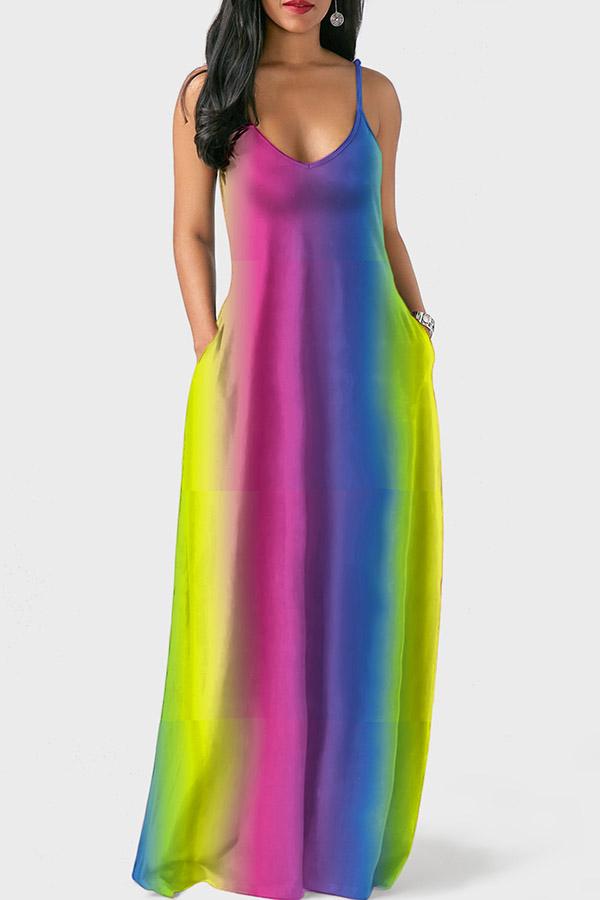 LovelyEuramerican Spaghetti Strap  Pink Floor Length Dress
