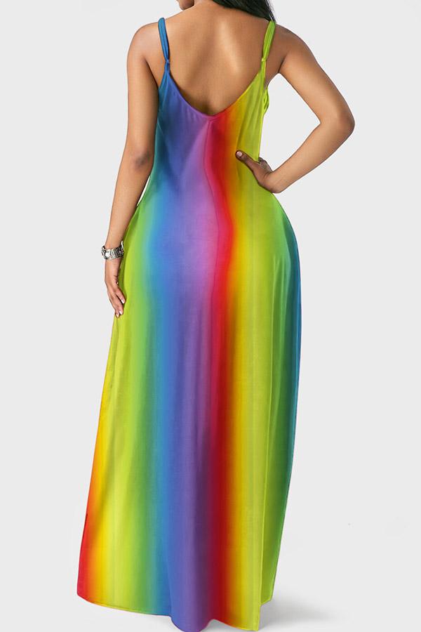 LovelyEuramerican Spaghetti Strap  Blue Floor Length Dress