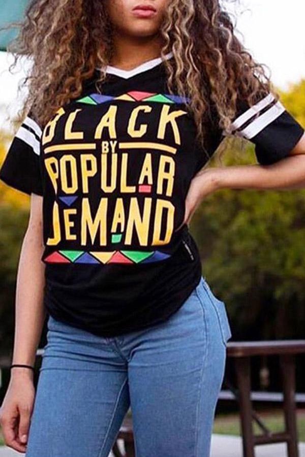 Lovely Euramerican Letters Printed  Black T-shirt