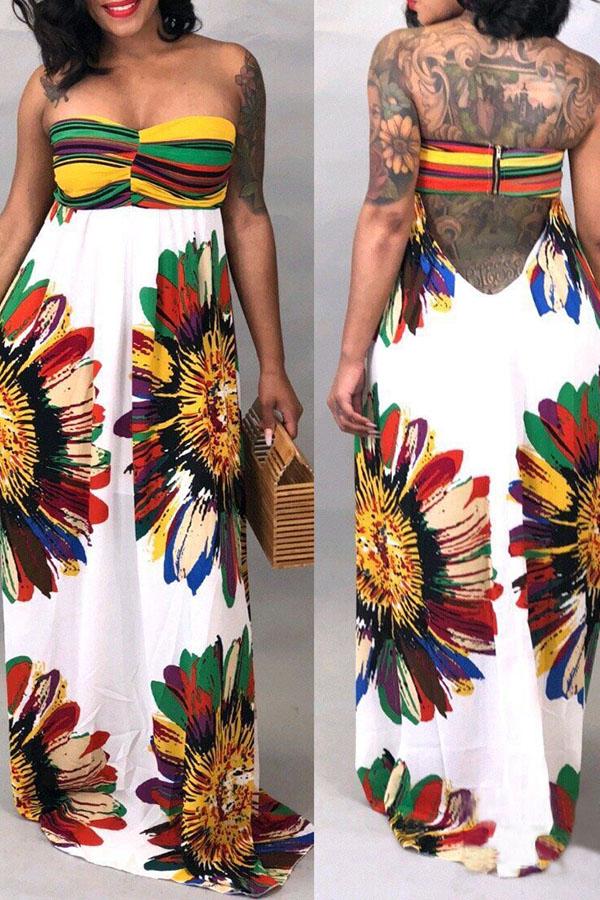 Lovely Sexy Strapless  Multi  Floor length Dresses