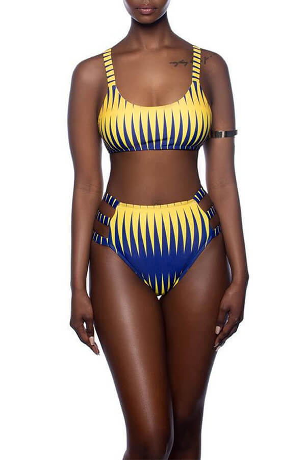 Lovely Euramerican Printed Yellow Two-piece Swimwear