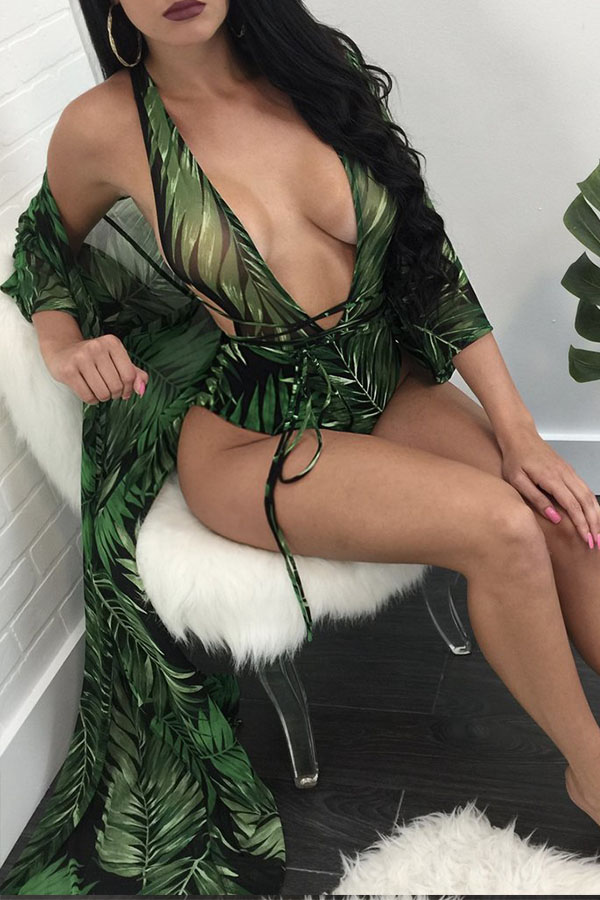 Lovely Euramerican Floral Print Green One-piece Swimwear (With Cloak)
