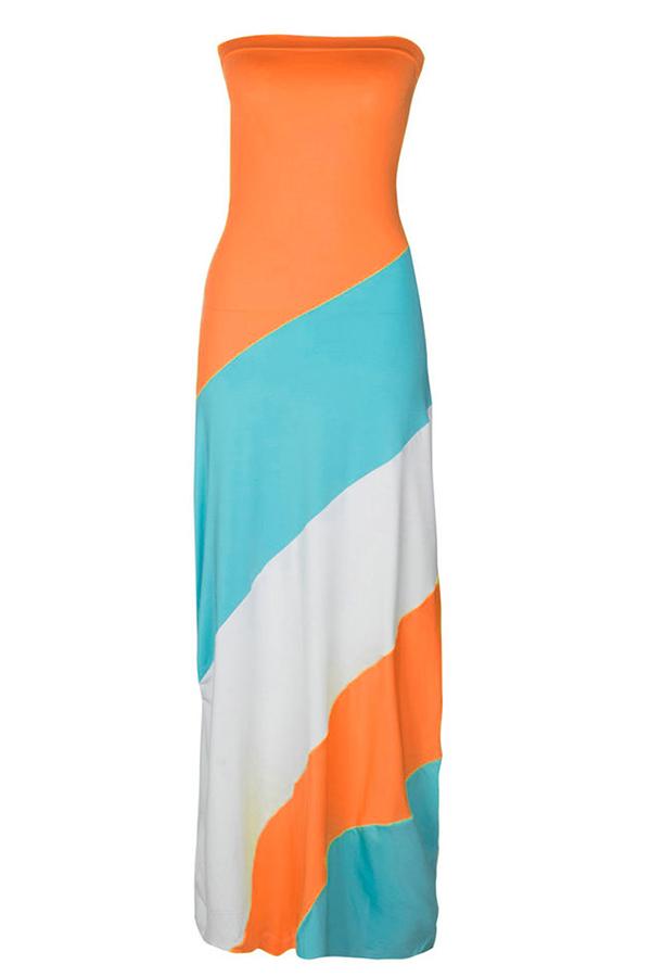 LovelyFashion Bateau Neck Patchwork Orange Polyester Floor Length Dress