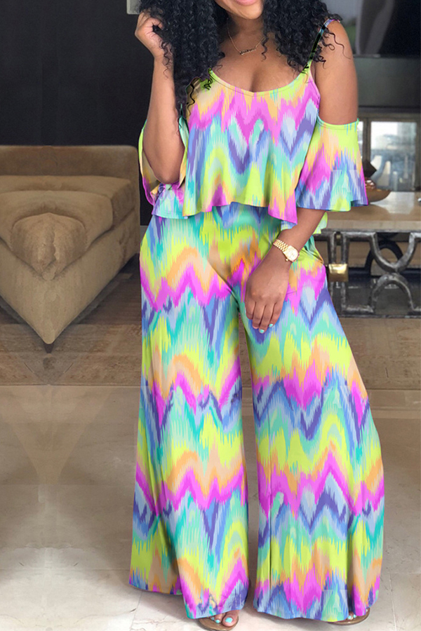 Lovely  Leisure Floral Printed  Multi One-piece Jumpsuit