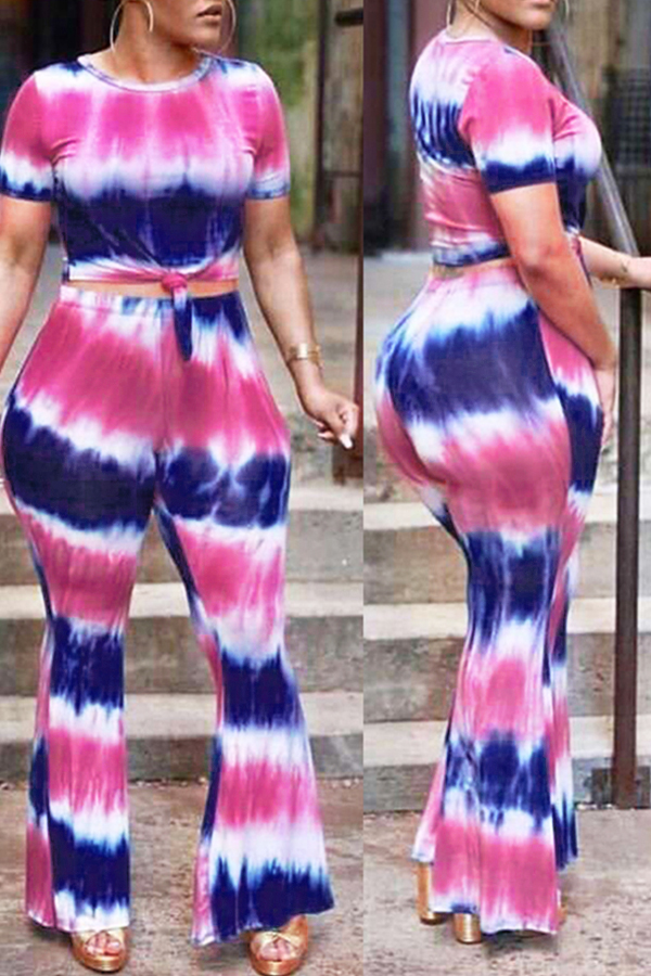 Lovely Euramerican Striped  Printed  Multicolor  Two-piece Pants Set