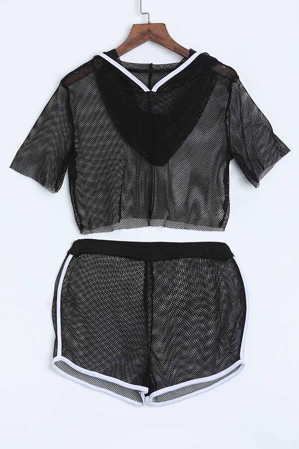 LovelySexy See-Through Black Gauze Two-piece Shorts Set