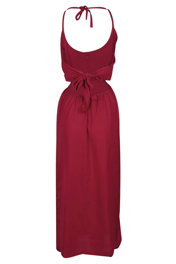 Lovely Casual Bandage Design Wine Red Mid Calf Dresses