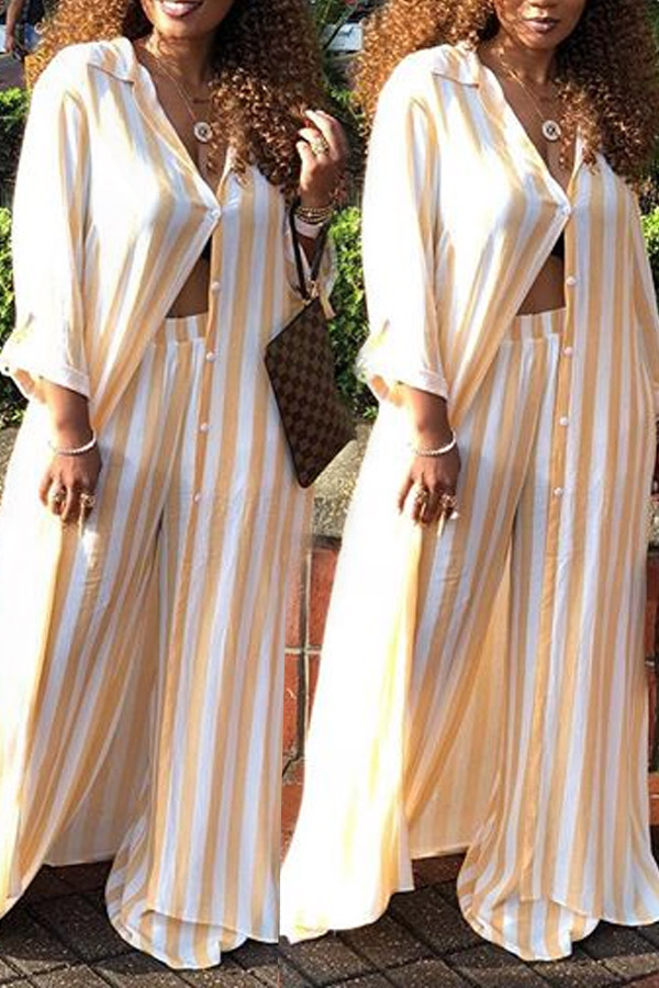 LovelyEuramerican Striped Yellow  Loose  Two-piece Pants Set