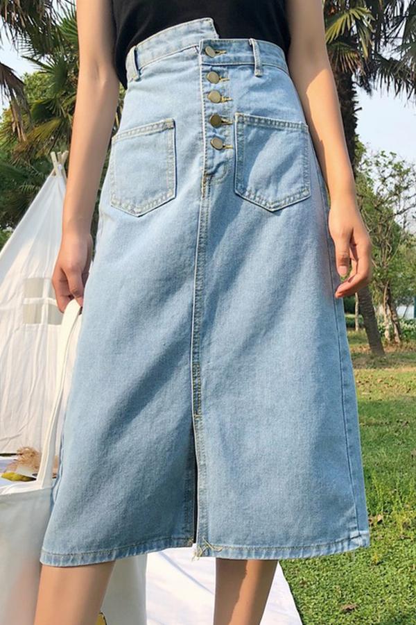 Lovely  Casual Slit Baby Blue Denim  Mid Calf Skirts