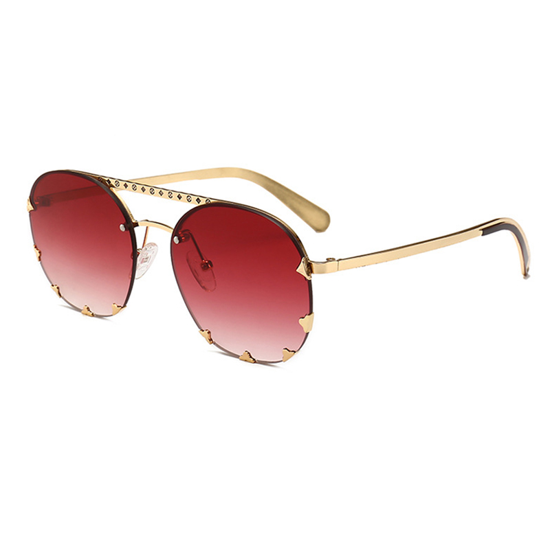 Lovely Vintage Style Rivet Decorative  Wine Red Sunglasses