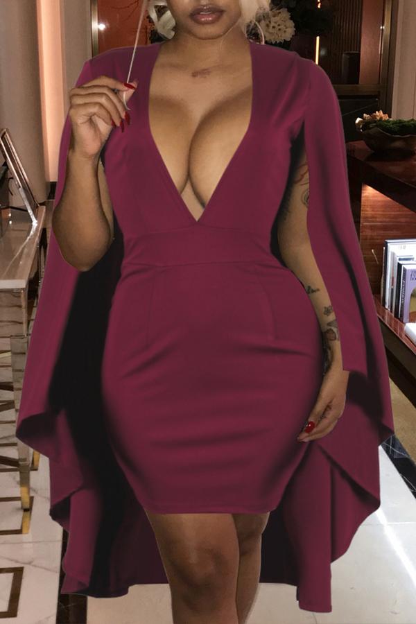 Lovely Euramerican Deep V Neck  The Cloak Wine Red  Mini Sheath Dresses