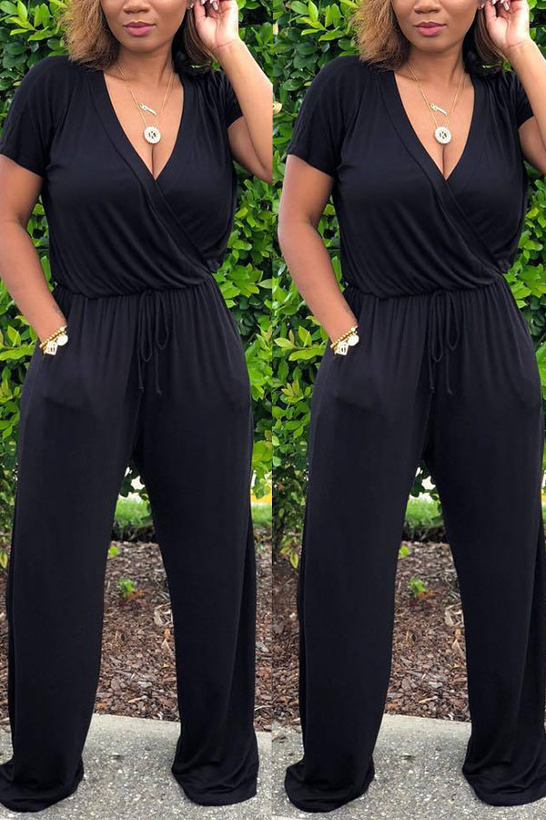 Lovely Euramerican  Drawstring Loose Black One-piece Jumpsuit