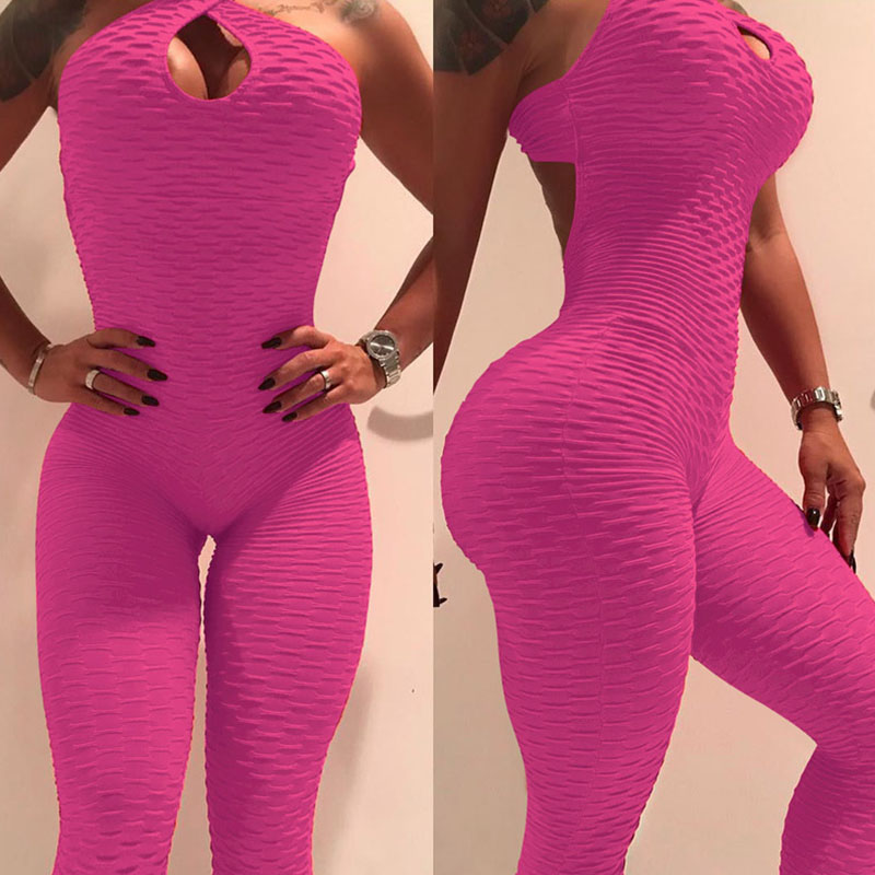 Lovely Sexy Backless Hollow-out Rose Red One-piece Jumpsuit