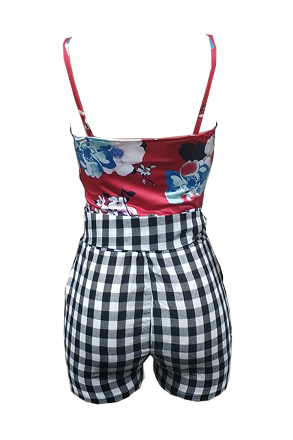Lovely Fashion Floral Printed Red Two-piece Shorts Set