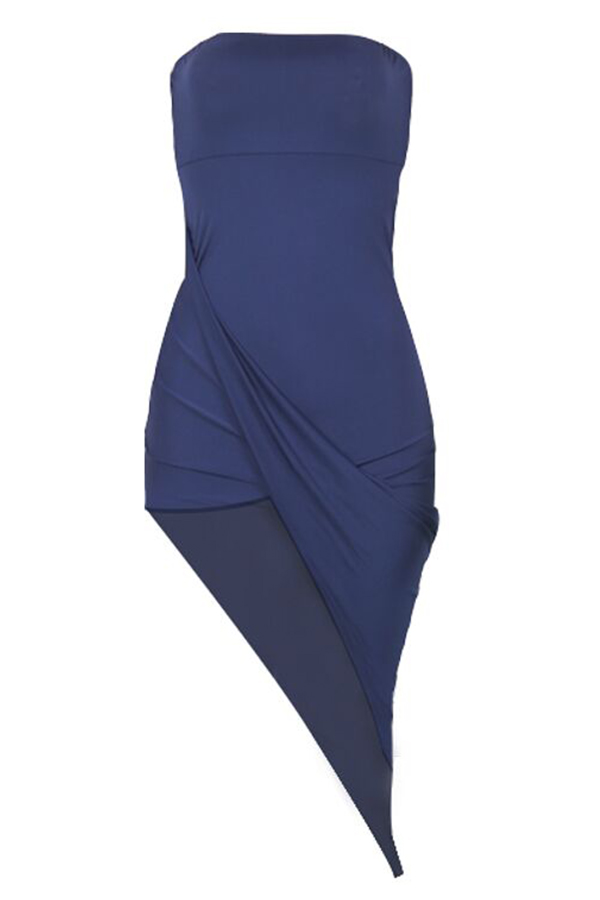 Lovely Euramerican  Dew Shoulder  Drape Design  Blue  Mid Calf   Dresses
