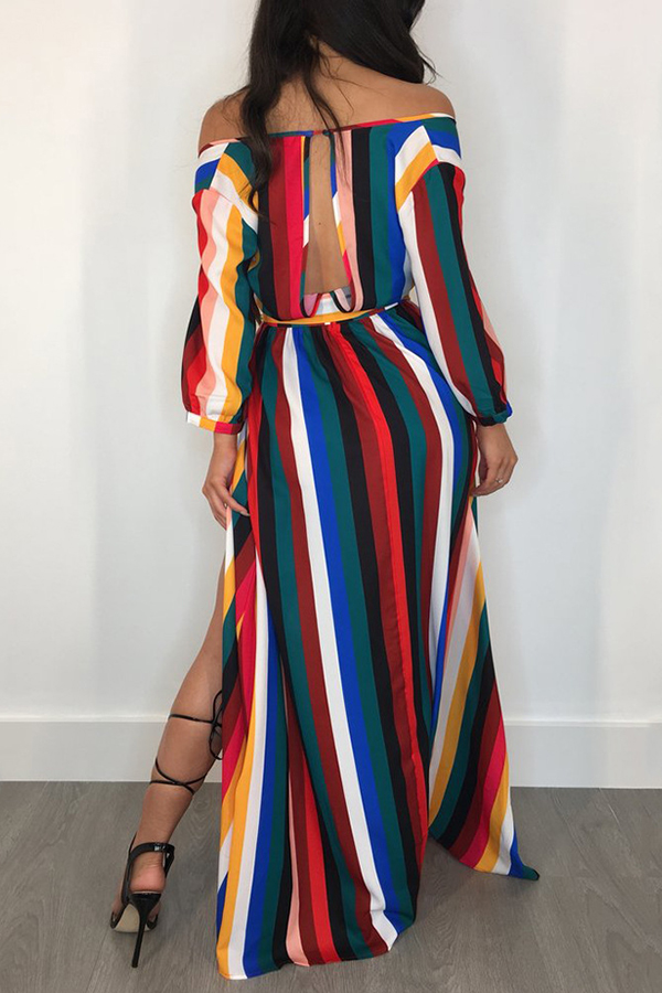 Lovely Euramerican Side Slit Striped Multicolor Floor Length  Dress
