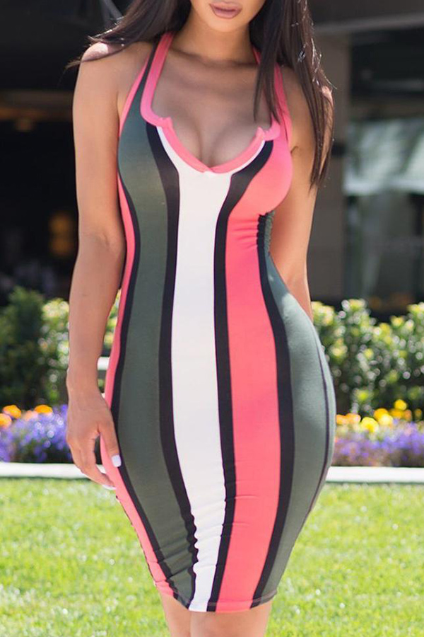 Lovely Twilled Satin Fashion Striped Tank Sleeveless V Neck Mid Calf Sheath Dresses