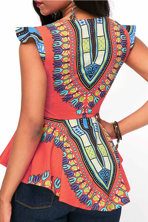 Lovely National Style Totem Printed Orange Rayon Blouse