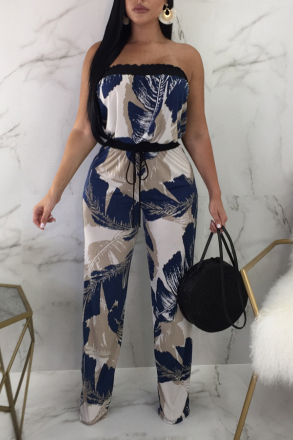 Lovely Fashion Bateau Neck Printing Blue Qmilch One-piece Jumpsuits