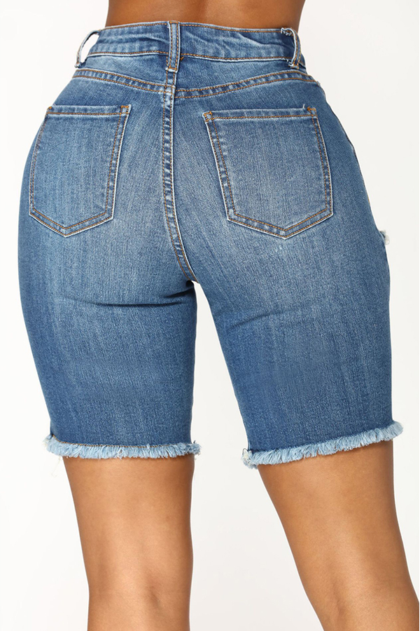 Lovely Chic Hight Waist Broken Holes Baby Blue Denim Zipped Shorts