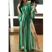 Lovely Euramerican Bateau Neck Striped Green  Ankl