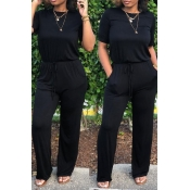 Lovely Euramerican Lace-up Black One-piece Jumpsui