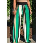 LovelyEuramerican Striped Loose Green Pants