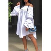 Lovely Trendy Dew Shoulder White Ruffles Knee Leng
