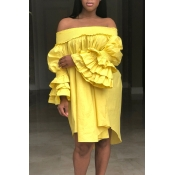 Lovely Trendy Dew Shoulder Yellow  Knee Length  Dress