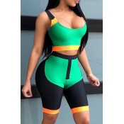 LovelyTrendy U Neck Patchwork Green Blending Two-piece Shorts Set