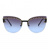 Lovely Fashion Style Rivet Decorative Blue Sunglas