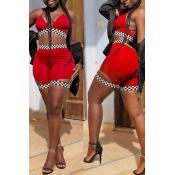 Lovelysexy Escote En V Con Estampado De Poliéster Rojo Conjunto De Dos Piezas De Pantalones Cortos